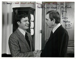Max Baucus shaking hands with George Mahon by Creator unknown