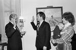 Max Baucus taking oath of office by Creator unknown
