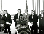 Max Baucus speaking at a press conference by Creator unknown