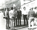 Max Baucus and Columbia Falls Aluminum Plant employees by Creator unknown