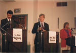 Max Baucus during debate with Dennis Rehberg and Becky Shaw by Creator unknown