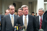 Chuck Grassley and Max Baucus at White House press conference by Creator unknown