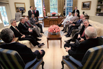 Max Baucus and others at meeting with George W. Bush and Dick Cheney by Creator unknown