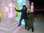 Max Baucus and Melodee Hanes at ice and snow festival by Creator unknown