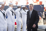 Max Baucus touring USS Benfold by Creator unknown