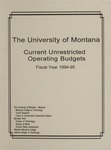 Current Unrestricted Operating Budgets, Fiscal Year 1995