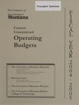 Current Unrestricted Operating Budgets, Fiscal Year 2005 by University of Montana (Central Administration)