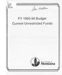 Current Unrestricted Operating Budgets, Fiscal Year 1993