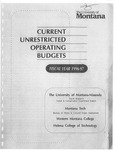 Current Unrestricted Operating Budgets, Fiscal Year 1997