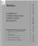 Current Unrestricted Operating Budgets, Fiscal Year 1999