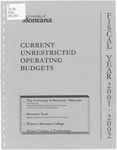 Current Unrestricted Operating Budgets, Fiscal Year 2001
