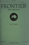 Frontier and Midland, Autumn 1937 by Harold G. Merriam