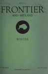 Frontier and Midland, Winter 1937-1938 by Harold G. Merriam