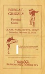 Grizzly Football Game Day Program, October 22, 1932 by University of Montana—Missoula. Athletics Department