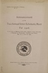 Interscholastic Meet Announcement, 1906 by University of Montana (Missoula, Mont.: 1893-1913). Interscholastic Committee