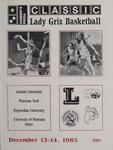 Lady Griz Basketball Program, December 13-14, 1985
