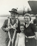 Anne and Maureen saying goodbye to Mike Mansfield before a trip by Creator Unknown
