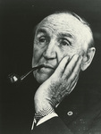 Mike Mansfield smoking a pipe by Creator Unknown