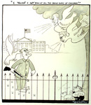 Cartoon of President Johnson on White House lawn