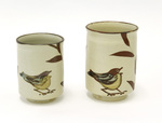 Tea Cups with Bird and Branch Motif