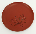 Kamakura-Bori Plate with Carved Camellias