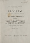The Importance of Being Earnest, 1919 by State University of Montana (Missoula, Mont.). Montana Masquers (Theater group)