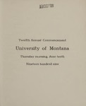 University of Montana Commencement Program, 1909