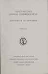 University of Montana Commencement Program, 1989