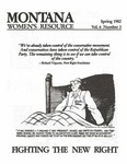 The Montana Women's Resource, Spring 1982 by University of Montana (Missoula, Mont. : 1965-1994). Women's Resource Center